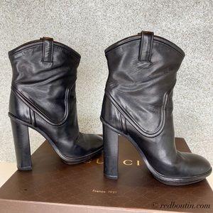 Gucci Trish Runway Black Mid Calf Ankle Boots